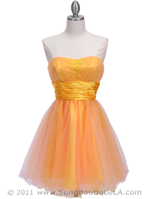 4514 Pink Yellow Homecoming Dress, Pink Yellow