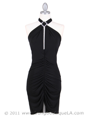 454 Black Halter Party Dress, Black