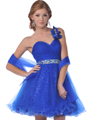 C454 One Shoulder Sweetheart Short Prom Dress - Royal Blue, Front View Thumbnail