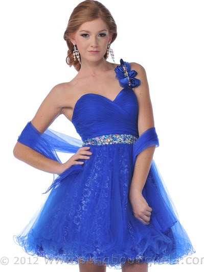 C454 One Shoulder Sweetheart Short Prom Dress - Royal Blue, Front View Medium