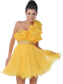 458 Yellow One Shoulder Vertical Pleated Short Prom Dress - Front Image