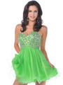 459 Strapless Corset Top Empire Waist Short Prom Dress - Green, Front View Thumbnail