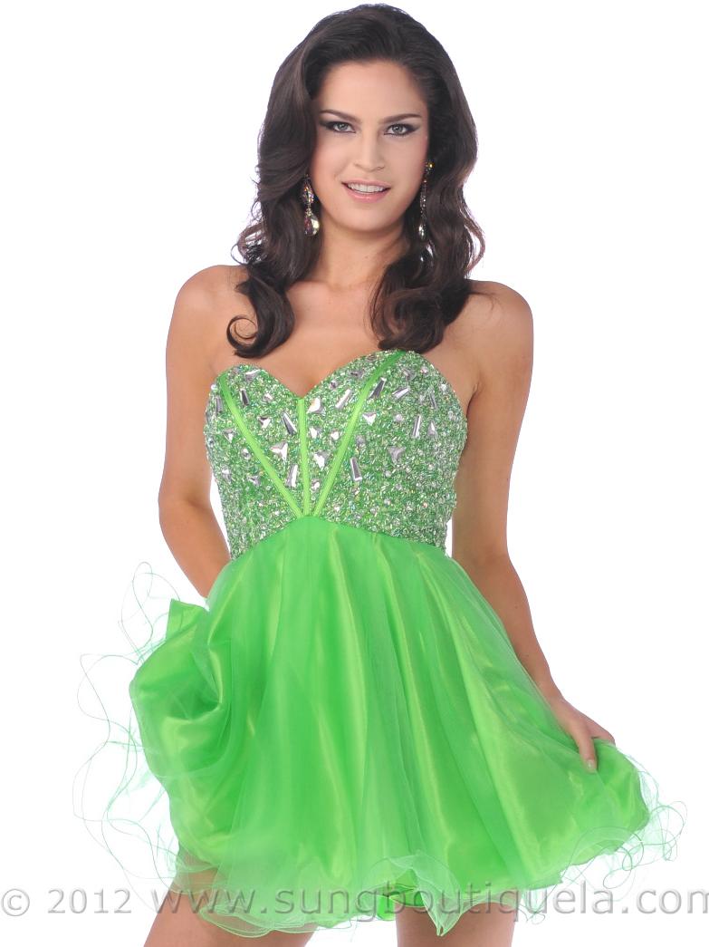 Strapless Corset Top Empire Waist Short Prom Dress  Sung Boutique ...
