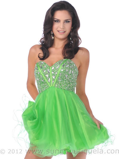 459 Strapless Corset Top Empire Waist Short Prom Dress - Green, Front View Medium