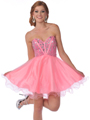 459 Strapless Corset Top Empire Waist Short Prom Dress - Pink, Front View Thumbnail