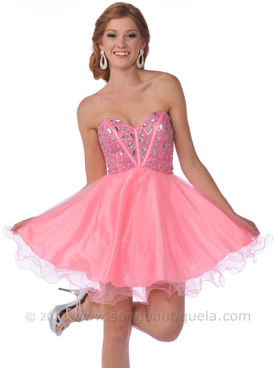 459 Strapless Corset Top Empire Waist Short Prom Dress - Pink, Front View Medium