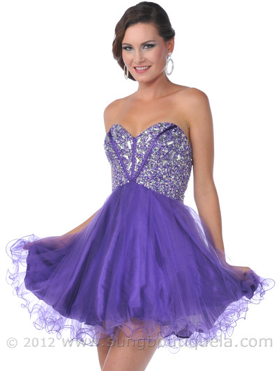 459 Strapless Corset Top Empire Waist Short Prom Dress - Purple, Front View Medium
