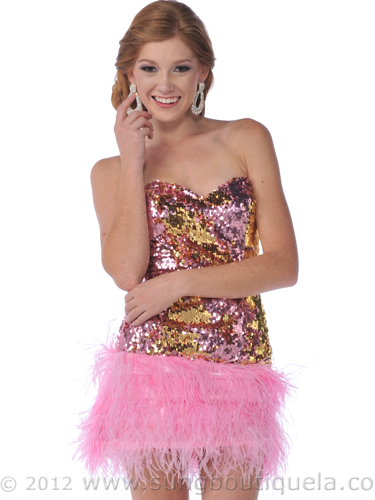 Short Sequin Prom Dress with Feather Hem - Sung Boutique L.A.