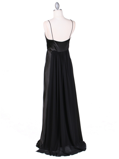 4624 Black Satin Evening Gown - Black, Back View Medium