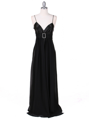 4624 Black Satin Evening Gown, Black