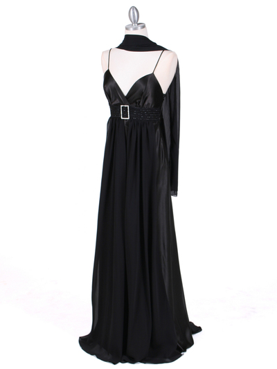 4624 Black Satin Evening Gown - Black, Alt View Medium