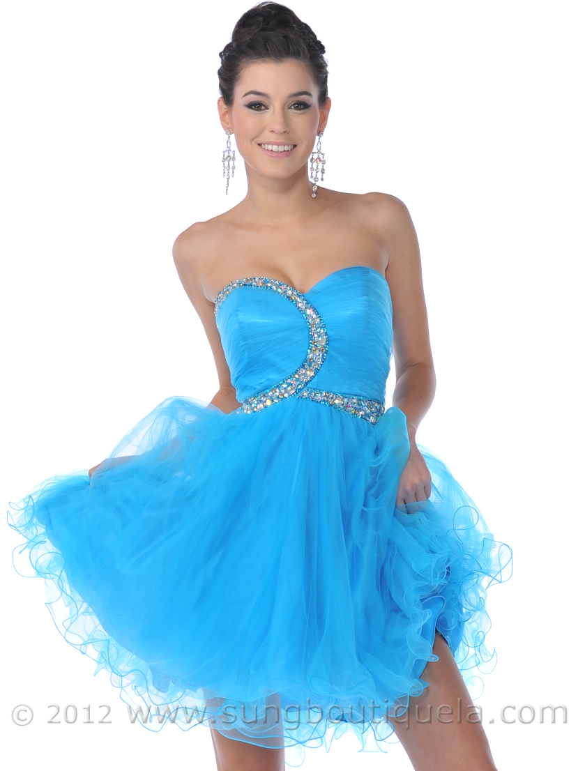 Strapless Beaded Short Prom Dresses with Tulle | Sung Boutique L.A.