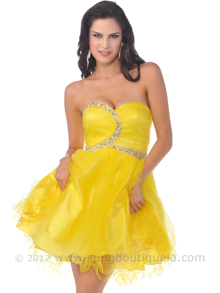 Strapless Beaded Short Prom Dresses with Tulle  Sung Boutique L.A.
