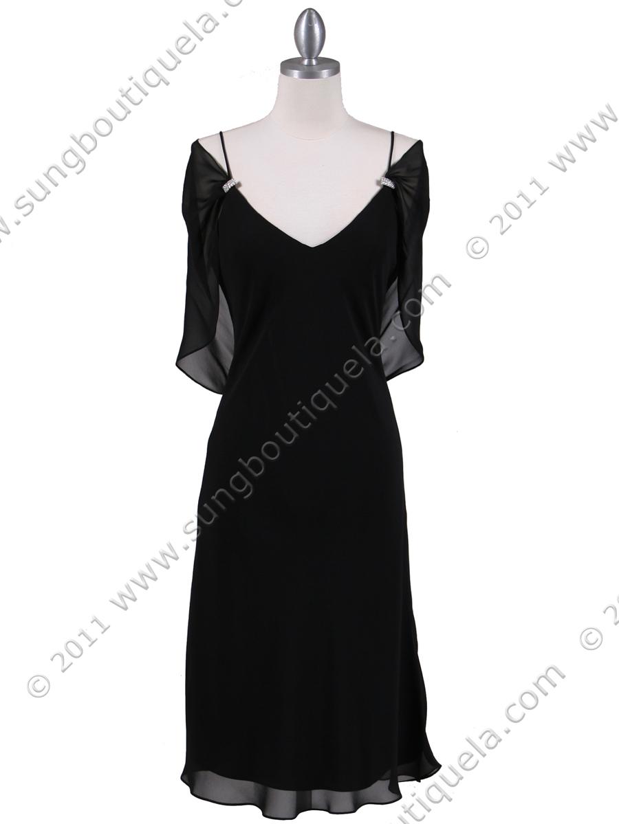 2cbb55ba23 4732 Black Draped Back Cocktail Dress - Black
