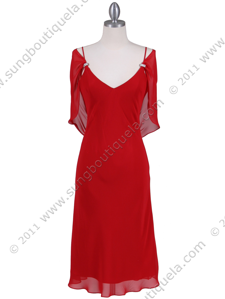 021b64c878 4732 Red Draped Back Cocktail Dress - Red