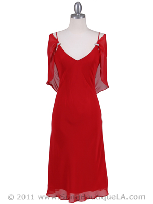 4732 Red Draped Back Cocktail Dress, Red