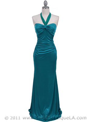 4760A Aqua Halter Evening Dress, Aqua
