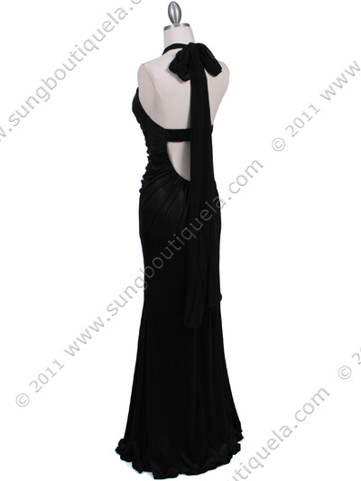 4760A Black Halter Evening Dress - Black, Back View Medium