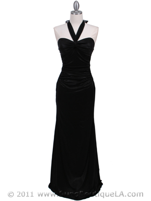 4760A Black Halter Evening Dress, Black