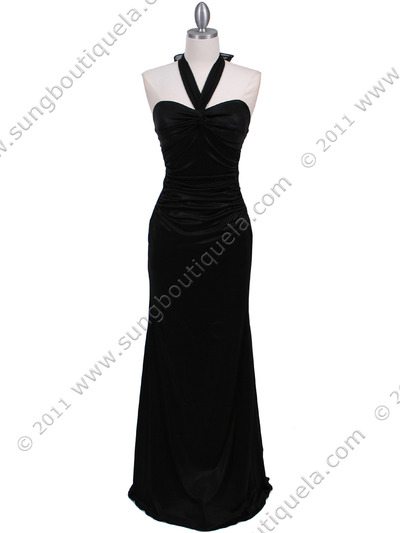 4760A Black Halter Evening Dress - Black, Front View Medium