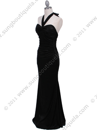 4760A Black Halter Evening Dress - Black, Alt View Medium
