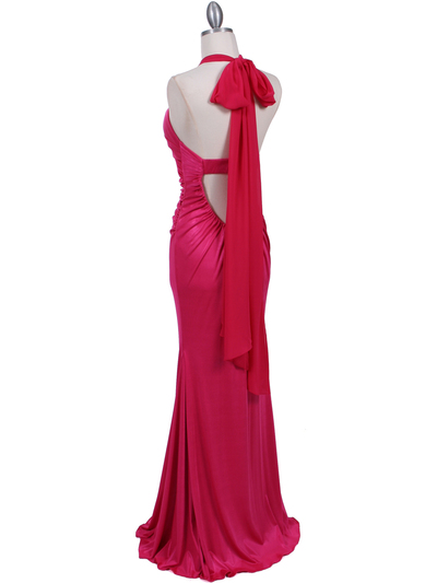 4760A Hot Pink Halter Evening Dress - Hot Pink, Back View Medium