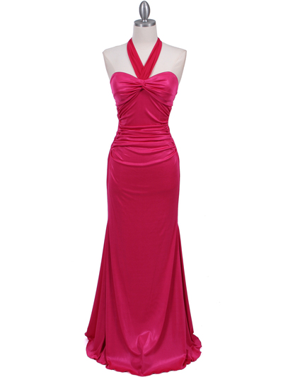 4760A Hot Pink Halter Evening Dress - Hot Pink, Front View Medium