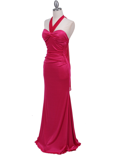 4760A Hot Pink Halter Evening Dress - Hot Pink, Alt View Medium