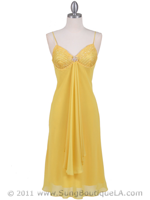 4793 Yellow Chiffon Cocktail Dress with Rhinestone Brooch, Yellow