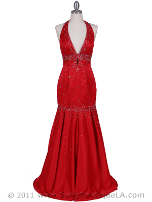 4828 Red Beaded Evening Gown, Red