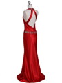 4838 Red Beaded Evening Dress - Red, Back View Thumbnail