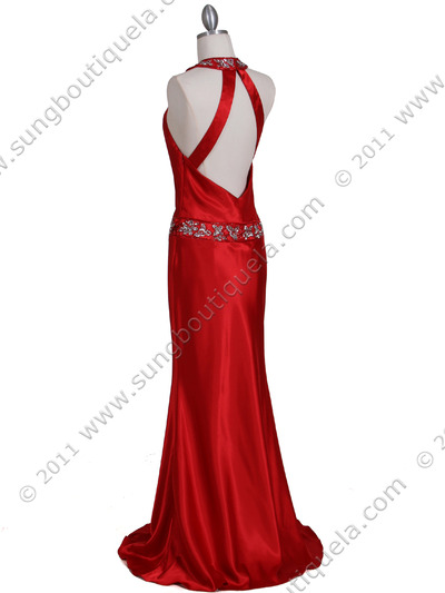 4838 Red Beaded Evening Dress - Red, Back View Medium