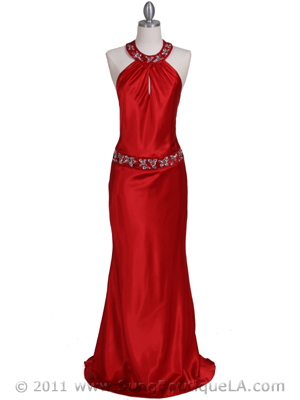 Red Beaded Evening Dress - Front Image