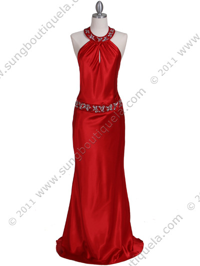 4838 Red Beaded Evening Dress - Red, Front View Medium