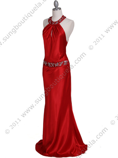 4838 Red Beaded Evening Dress - Red, Alt View Medium