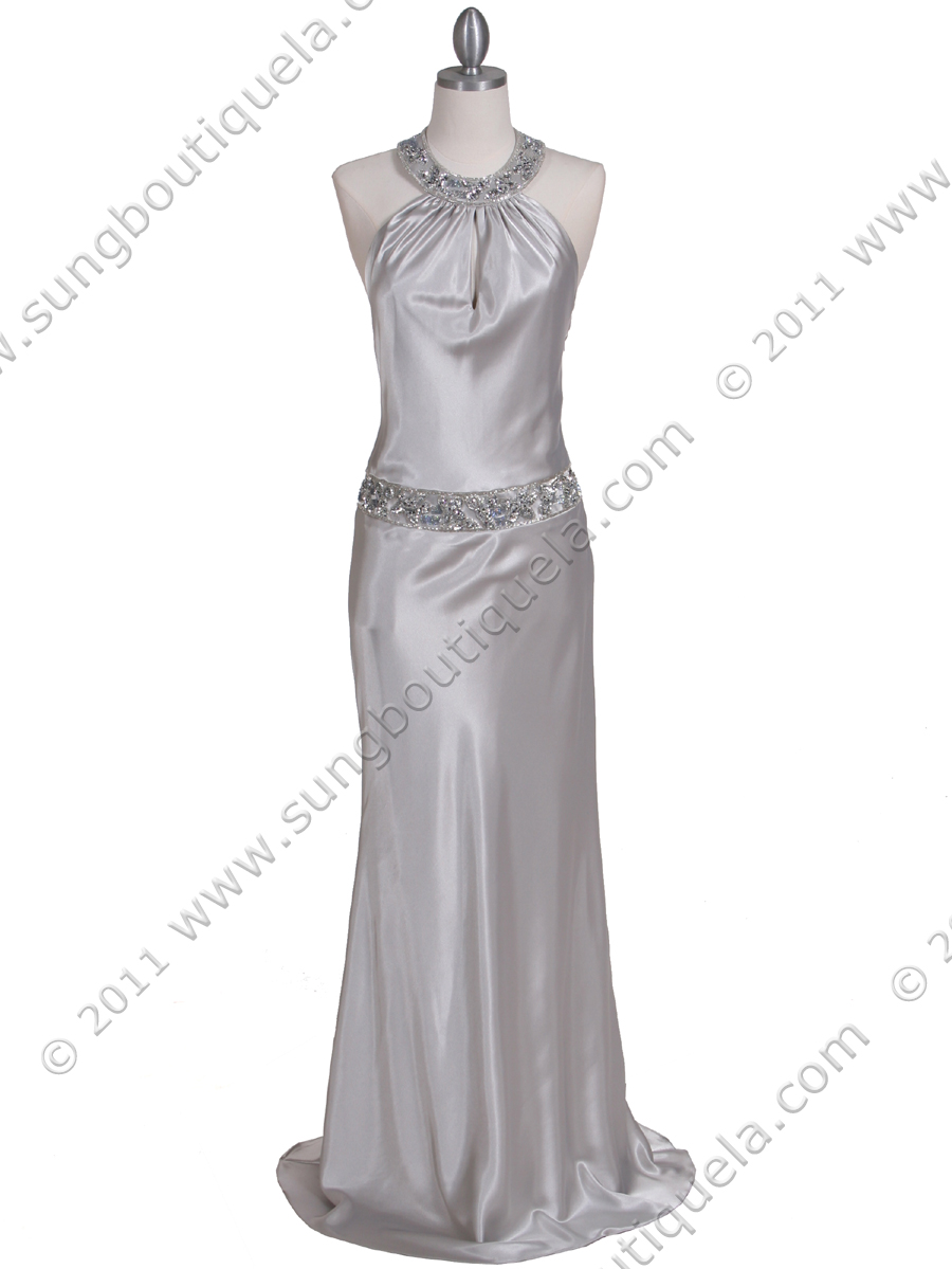 Sweetheart Neckline Fully Beaded Bodice Silver Full Length Gown