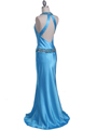 4838 Turquoise Beaded Evening Dress - Turquoise, Back View Thumbnail