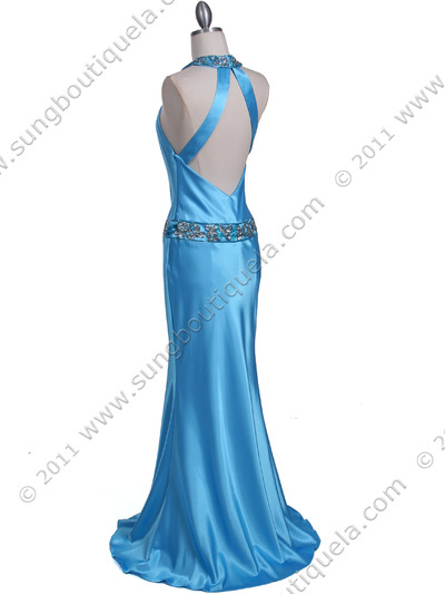 4838 Turquoise Beaded Evening Dress - Turquoise, Back View Medium