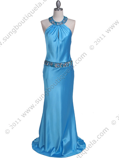 4838 Turquoise Beaded Evening Dress - Turquoise, Front View Medium