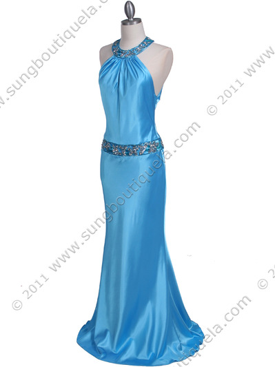 4838 Turquoise Beaded Evening Dress - Turquoise, Alt View Medium