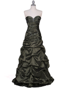 Olive Taffeta Beaded Evening Gown