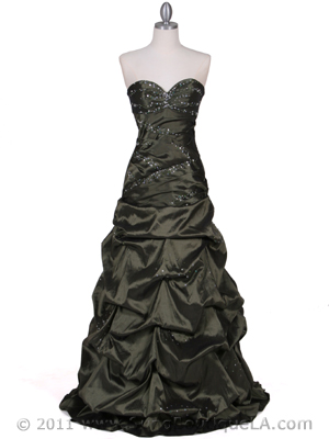 4847 Olive Taffeta Beaded Evening Gown, Olive
