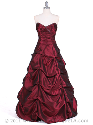 4896 Wine Taffeta Evening Gown, Wine