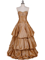 4880 Gold Two Tone Strapless Beaded Evening Gown - Gold, Front View Thumbnail