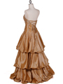 4880 Gold Two Tone Strapless Beaded Evening Gown - Gold, Back View Thumbnail