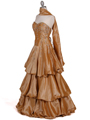 4880 Gold Two Tone Strapless Beaded Evening Gown - Gold, Alt View Thumbnail