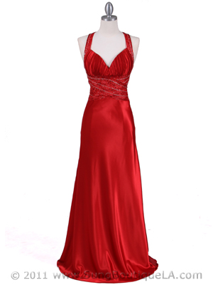 4897 Red Beaded Evening Gown, Red