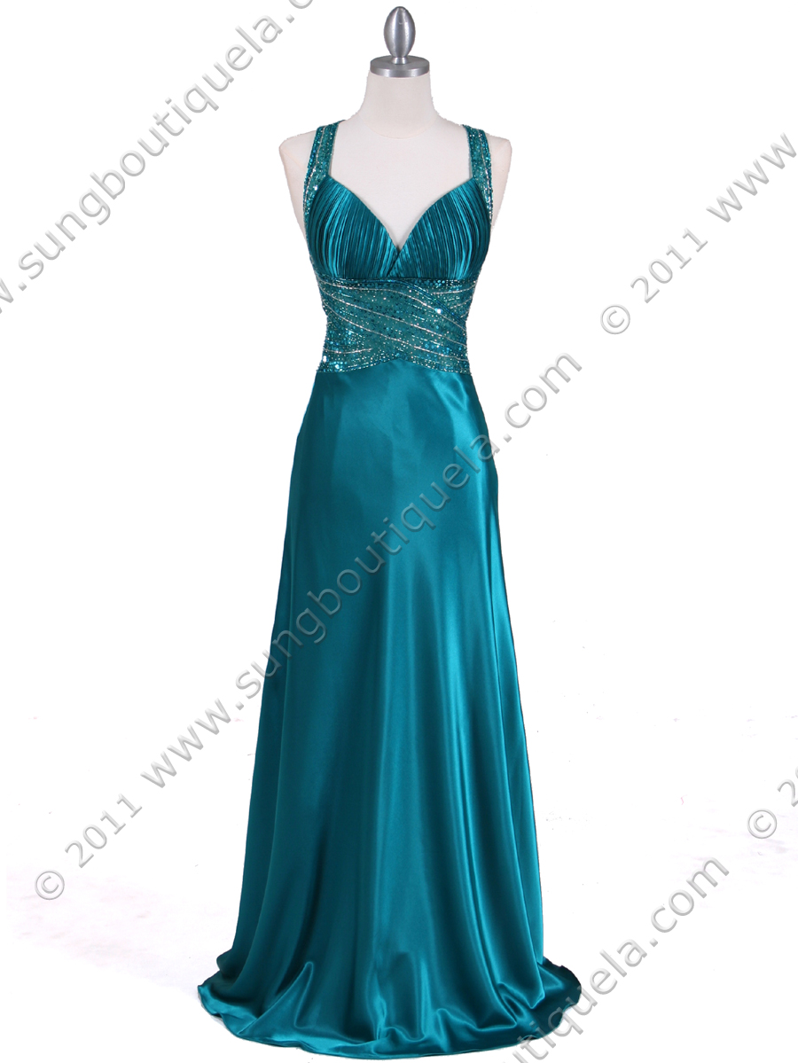 Teal Beaded Evening Gown | Sung Boutique L.A.
