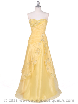 4909 Yellow Beaded Evening Gown, Yellow