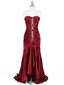 4918 Wine Charmuse Evening Gown - Wine, Front View Thumbnail